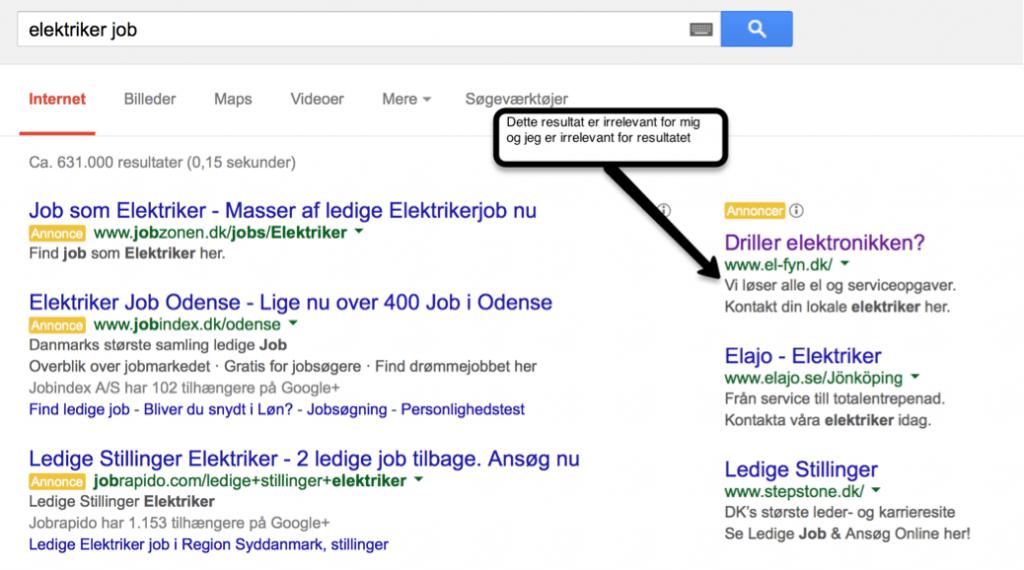 Google AdWords negative søgeord - elektriker jobs