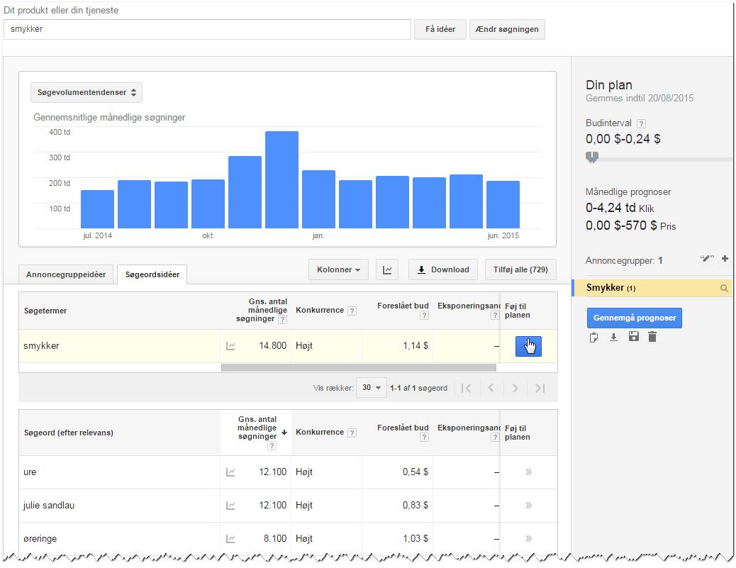 Google Keyword Planner - step 2