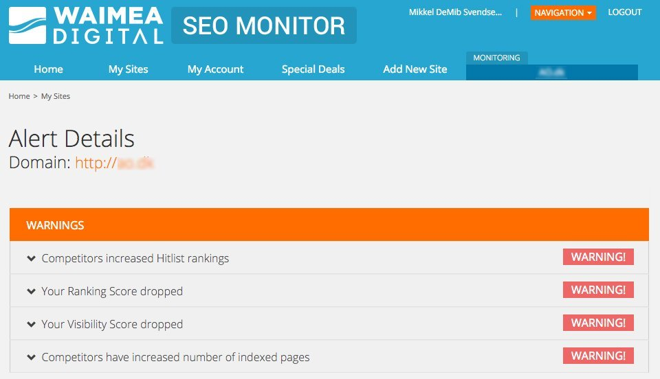 SEO Monitor - Alerts side