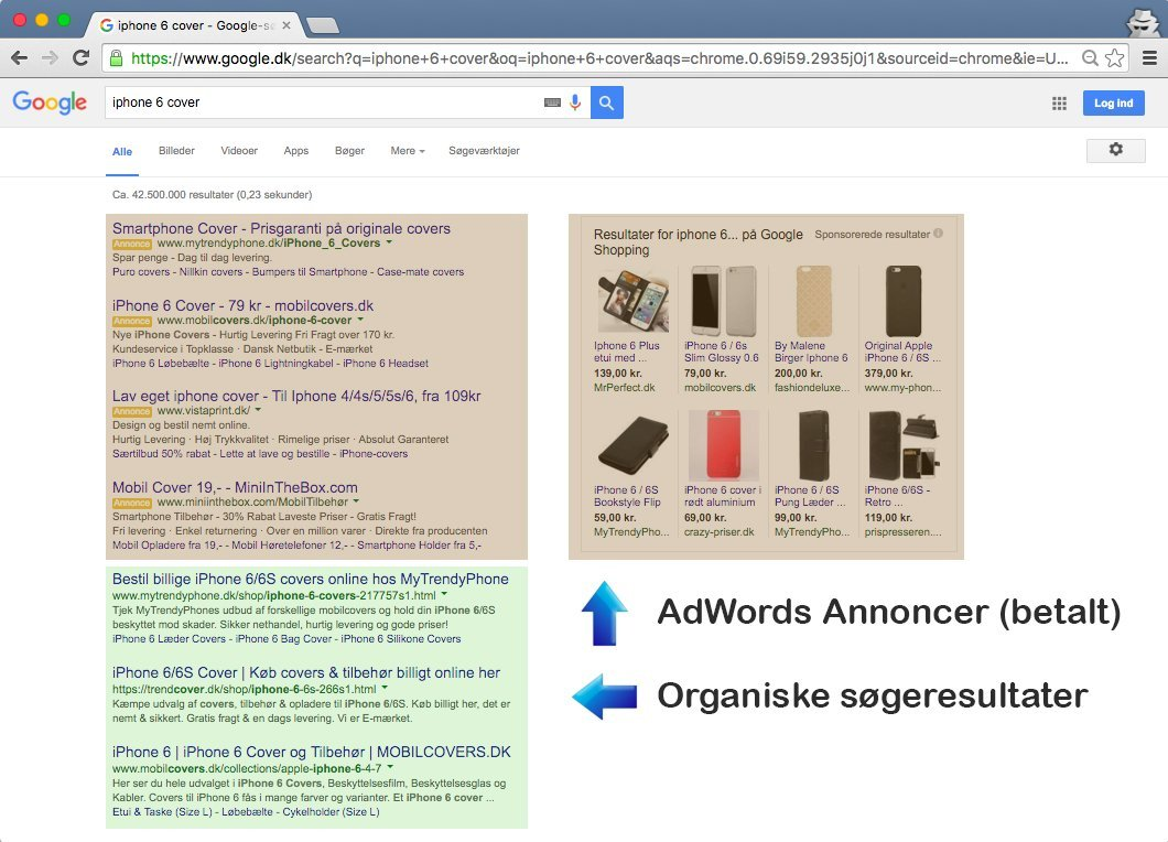 Google - AdWords og Organiske søgeresultater