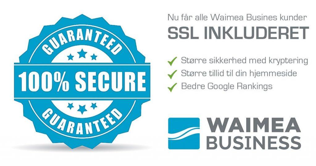 SSL -sikker forbindelse på Waimea Business hjemmesider