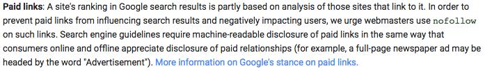 Google Webmaster Guidelinkes - betalte links