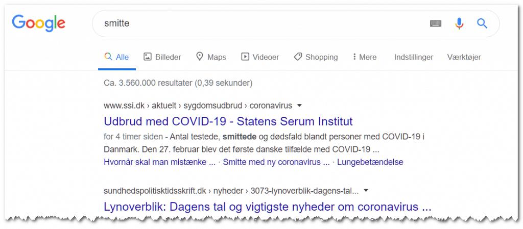 google-corona-smitte