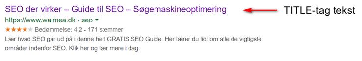 Eksempel på TITLE i Google